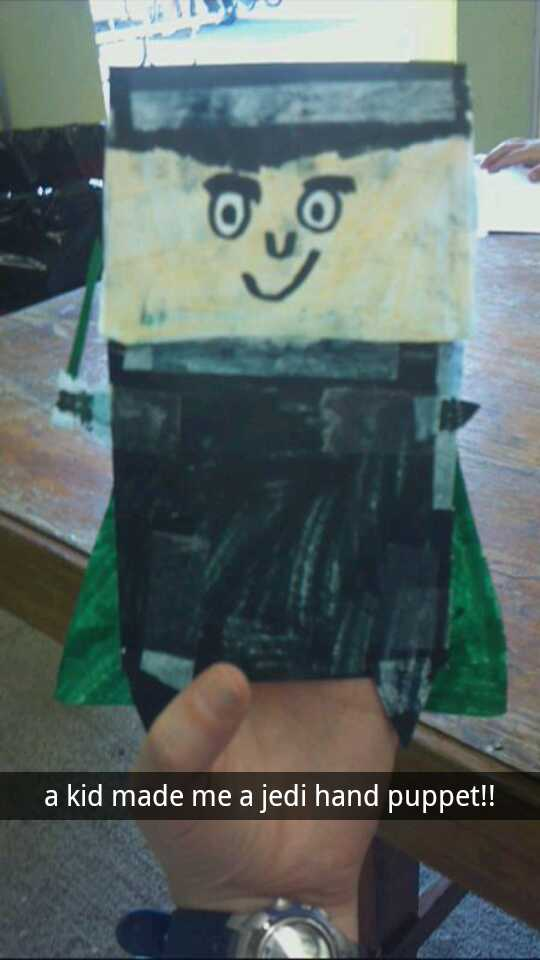 "Another kid made me a ""Jedi Hand Puppet"", complete with a cape and light saber!"