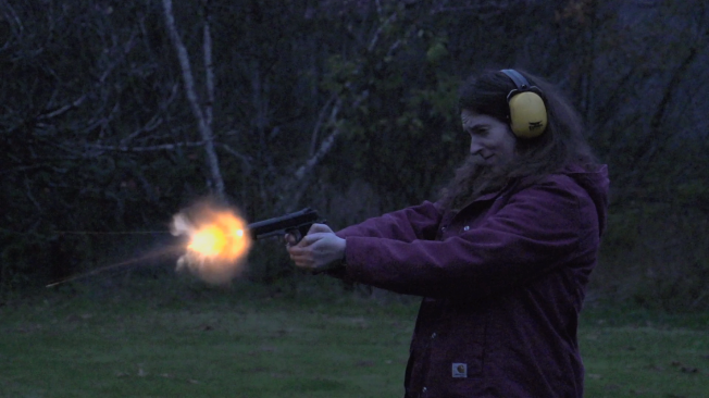 This was a super-slow motion video test. This was my first time shooting a gun!